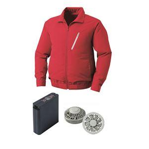 空調服 ポリエステル製空調服 大容量バッテリーセット ファンカラー:グレー 0510G22C08S2 【カラー:レッド サイズ:M】