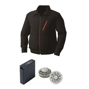 空調服 ポリエステル製空調服 大容量バッテリーセット ファンカラー:グレー 0510G22C09S3 【カラー:ブラック サイズ:L】