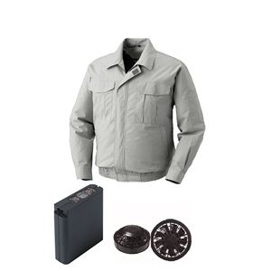 空調服 綿薄手ワーク空調服 大容量バッテリーセット ファンカラー:ブラック 0550B22C06S7 【カラー:シルバー サイズ:5L 】