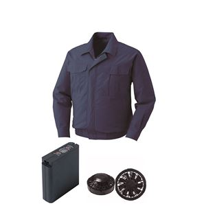 空調服 綿薄手ワーク空調服 大容量バッテリーセット ファンカラー:ブラック 0550B22C14S7 【カラー:ダークブルー サイズ:5L 】