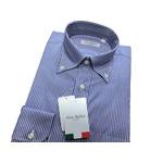イタリア製コットンドレスシャツ ブルーストライプ大 L