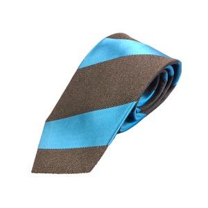 新作ネクタイ  日本製シルク100% トラッド ブラウン×スカイブルー