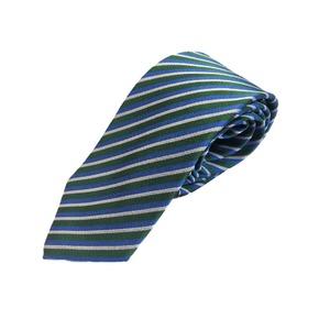 イタリア製 Gian Bellini ファクトリーシルクネクタイ グリーン×ストライプ