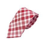織りチェックシリーズ 日本製シルク100% ピンクレッド