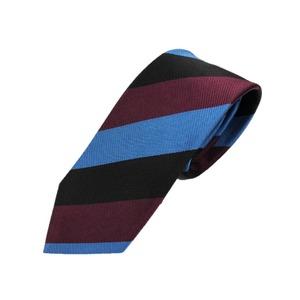 厳選ワンランク上のネクタイ トラッドレジメンタルシリーズ シルク100% ブルー&ボルドー&ブラック 大剣幅約8.0cm