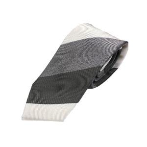厳選ワンランク上のネクタイ トラッドレジメンタルシリーズ シルク100% グレー&チャコール&ホワイト 大剣幅約8.0cm