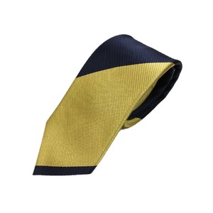 厳選ワンランク上のネクタイ トラッドレジメンタルシリーズ シルク100% ゴールド&ダークネイビー 大剣幅約8.0cm