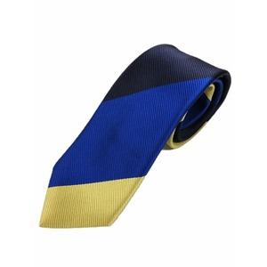厳選ワンランク上のネクタイ トラッドレジメンタルシリーズ シルク100% ゴールド&ダークネイビー&ブルー 大剣幅約8.0cm