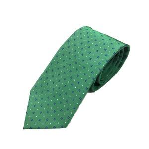 希少小紋シリーズ シルク100% グリーン 大剣幅約8.0cm