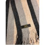 おすすめ 機屋直仕入れ 日本製カシミヤ100% 織マフラー ストライプマフラー ベージュ・グレー・チャコール