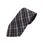 グランネクタイ 西陣手縫い仕立て 織チェックシルク ウォッシャブル(シワ加工)ネクタイ&チーフセット ブルー(チェック)