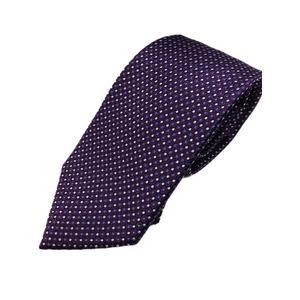 高品質シルクネクタイ 人気 水玉 パープル 手縫い・共裏・ミシンステッチ仕様 HARNESS HOUSE