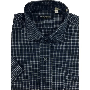 人気 イタリア製ファクトリー コットン半袖シャツ チェック ネイビー凹凸夏生地仕様 Mサイズ