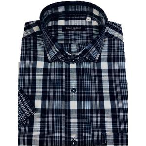 人気 イタリア製ファクトリー コットン半袖シャツ チェック ネイビー 長細糸シャツ Mサイズ