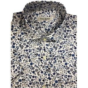 人気 イタリア製ファクトリー コットン半袖シャツ フラワー 花柄 ホワイト Lサイズ