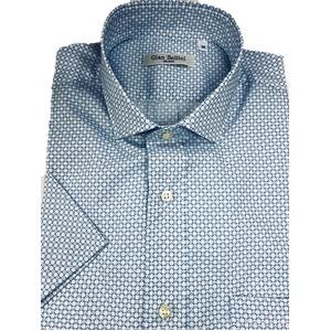 人気 イタリア製ファクトリー コットン半袖シャツ ブルー Lサイズ