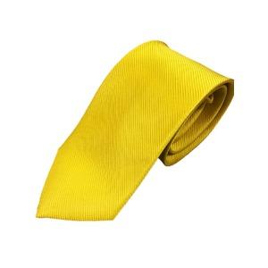 シルク100%ネクタイ 無地織り レモンイエロー