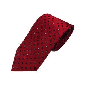 手縫いシルク100%ネクタイ 定番 小紋 共裏&ミシンステッチ仕様 レッド