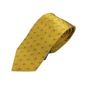 手縫いシルク100%ネクタイ 小紋 レモンイエロー