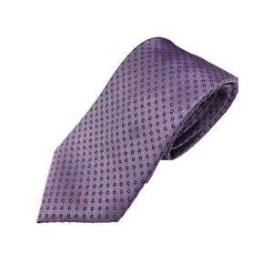 手縫いシルク100%ネクタイ 共裏&ミシンステッチ仕様 小柄 パープル