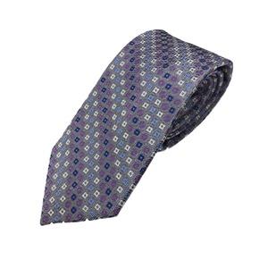 手縫いシルク100%ネクタイ 共裏&ミシンステッチ仕様 小柄 シルバー&パープル