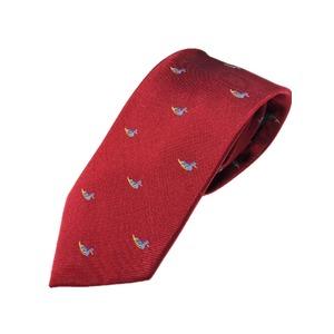 シルク100%ネクタイ クレスト ボルドー&鳥