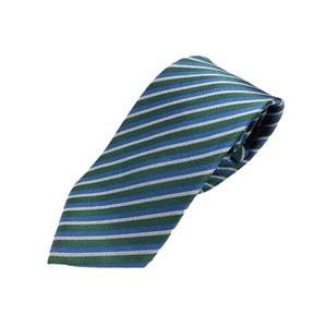 イタリア製 シルク100%ネクタイ From MILANO グリーン×レジメンタルストライプ