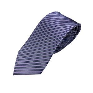 イタリア製 シルク100%ネクタイ From MILANO 淡いパープルストライプ