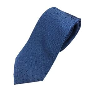 イタリア製 シルク100%ネクタイ From MILANO ドット・織柄 希少デザイン ブルー