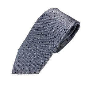 イタリア製 シルク100%ネクタイ From MILANO ドット・織柄 希少デザイン ブルーシルバー