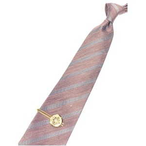 希少 トラッド 七宝 エンブレムタイピン&西陣製手縫いシルク・リネンネクタイセット