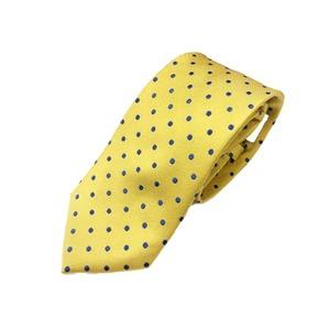 シルク100%ネクタイ 水玉×ドット イエローゴールド