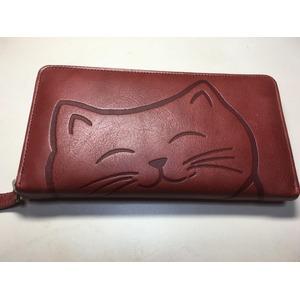 牛革猫型ロングウォレット おすまし ワイン 〔長財布〕