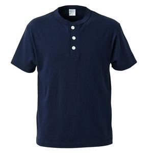 アウトフィットに最適ヘビーウェイト5.6オンスセミコーマヘンリーネック Tシャツ2枚セット ネイビー+ブラック L