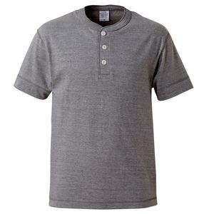 アウトフィットに最適ヘビーウェイト5.6オンスセミコーマヘンリーネック Tシャツ2枚セット ブラック+ミックスグレー S