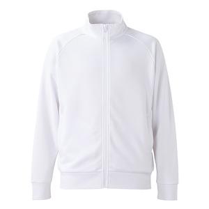 UVカット・吸汗速乾・ドライジャージパイルフルジップラグランスリーブジャケット ホワイト XL