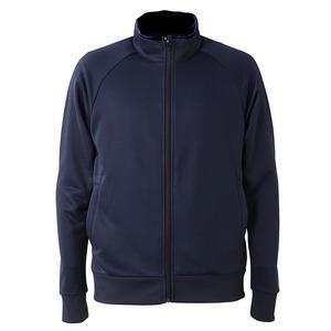 UVカット・吸汗速乾・ドライジャージパイルフルジップラグランスリーブジャケット ネイビー L