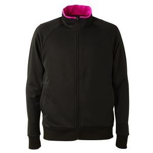 UVカット・吸汗速乾・ドライジャージパイルフルジップラグランスリーブジャケット ブラック/トロピカルピンク XL