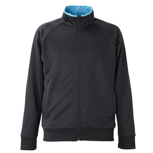 UVカット・吸汗速乾・ドライジャージパイルフルジップラグランスリーブジャケット ブラック/ターコイズ ブルー S