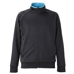 UVカット・吸汗速乾・ドライジャージパイルフルジップラグランスリーブジャケット ブラック/ターコイズ ブルー XL