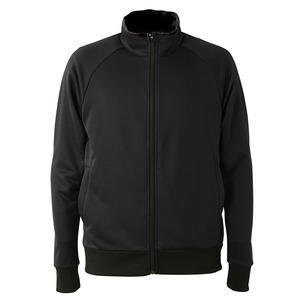 UVカット・吸汗速乾・ドライジャージパイルフルジップラグランスリーブジャケット ブラック XXL