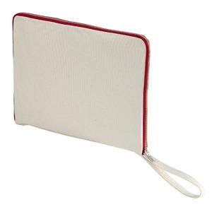 14.3オンス帆布製綿キャンパスコットンクラッチバッグ・ ナチュラル/フレンチ レッド