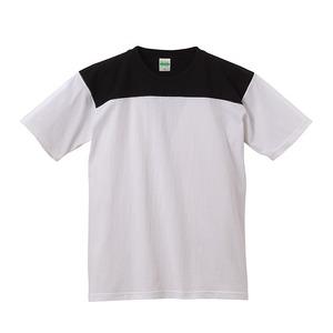 7.1オンスUSコットンオープンエンドヤーン フットボール Tシャツ ホワイト/ブラック XL