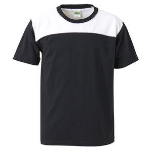 7.1オンスUSコットンオープンエンドヤーン フットボール Tシャツ ブラック/ホワイト XL