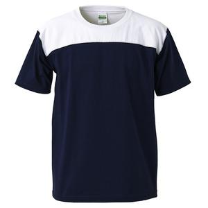 7.1オンスUSコットンオープンエンドヤーン フットボール Tシャツ ネイビー/ホワイト L