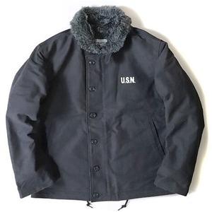 USタイプ 「N-1」 DECK ジャケット ブラック(裏ボアグレー) 34(S)サイズ【レプリカ】