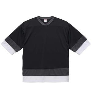 UVカット・吸汗速乾・4.1オンスホッケーTシャツ XL ブラック/ガンメタル/ホワイト