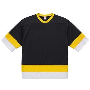 UVカット・吸汗速乾・4.1オンスホッケーTシャツ M  ブラック/カナリアイエロー/ホワイト
