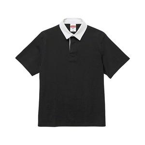 8.3オンス吸汗速乾空紡糸使用ラガーシャツ半袖 ブラック L