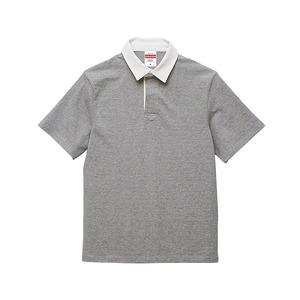 8.3オンス吸汗速乾空紡糸使用ラガーシャツ半袖 ミックスグレー M